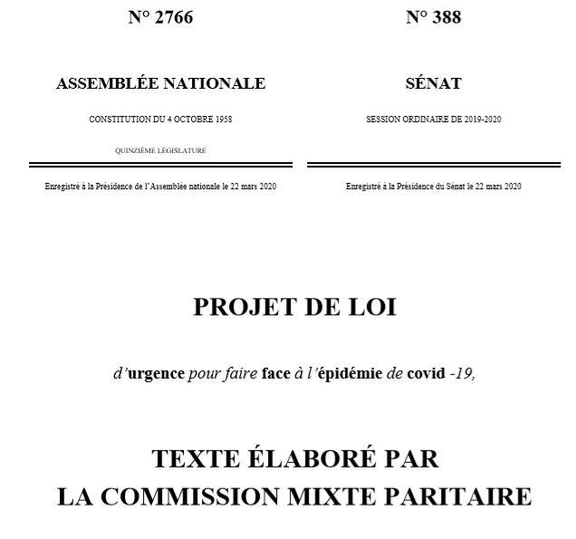 Adoption du projet de loi relatif aux mesures d'urgences pour lutter contre la propagation du virus COVID-19